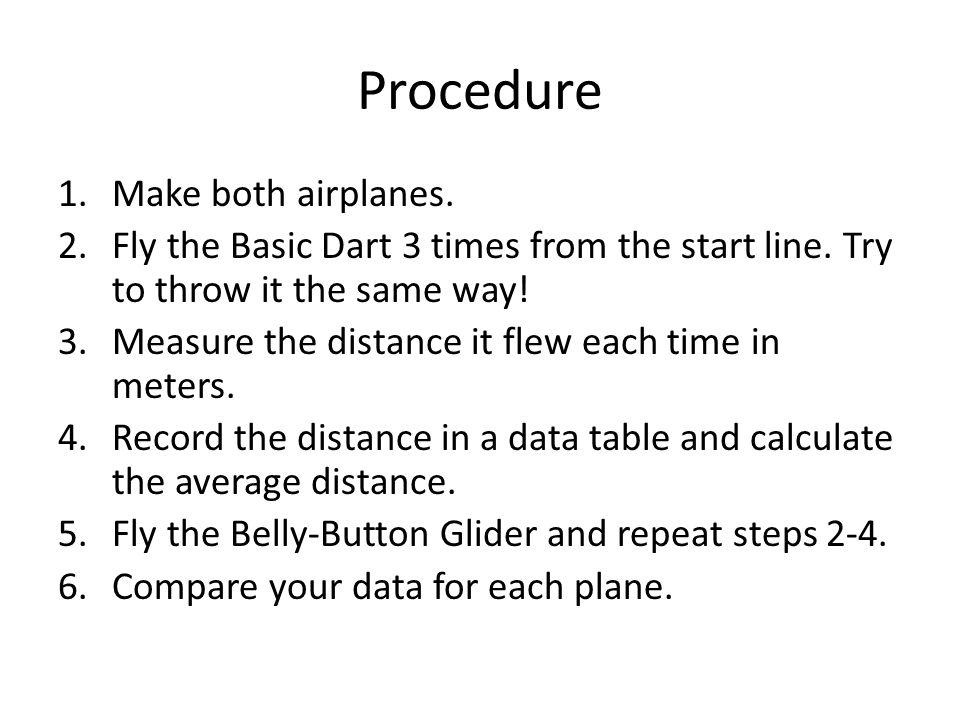 Data (Page 15) Airplane NameDistance Trial 1 (m) Distance Trial 2 (m) Distance Trial 3 (m) Average Distance Basic Dart Belly-Button Glider