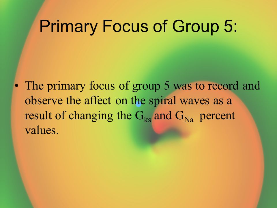 Primary Focus of Group 5: The primary focus of group 5 was to record and observe the affect on the spiral waves as a result of changing the G ks and G Na percent values.