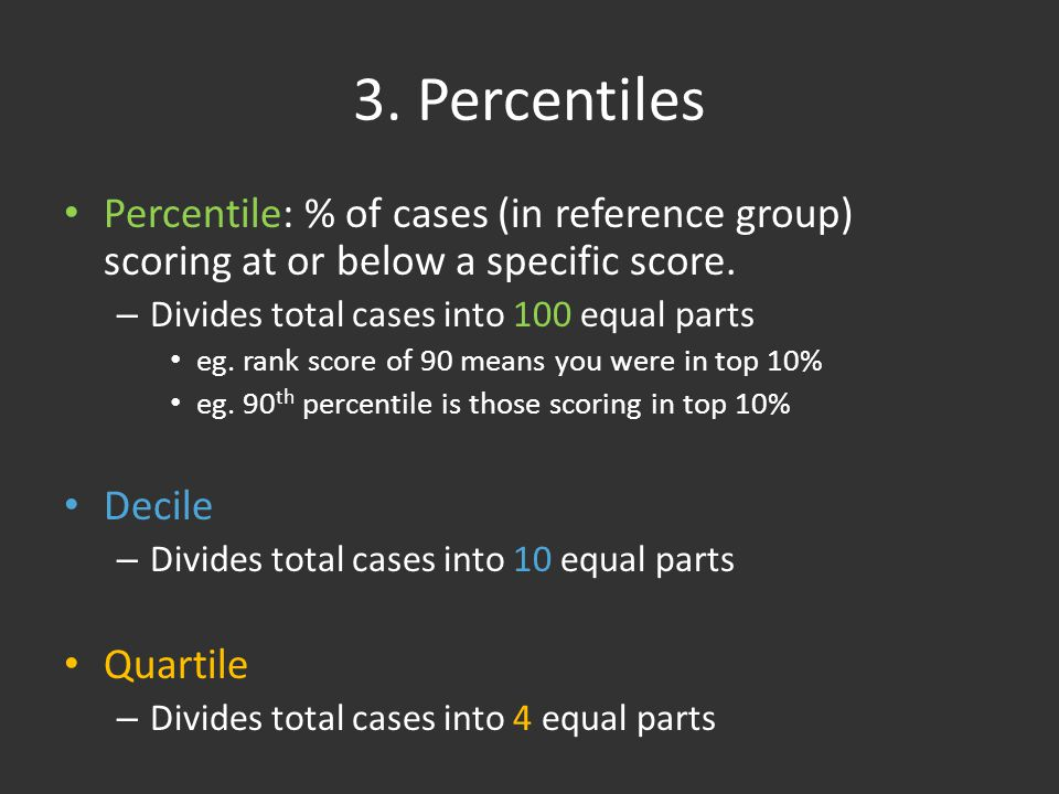 3. Percentiles Percentile: % of cases (in reference group) scoring at or below a specific score.