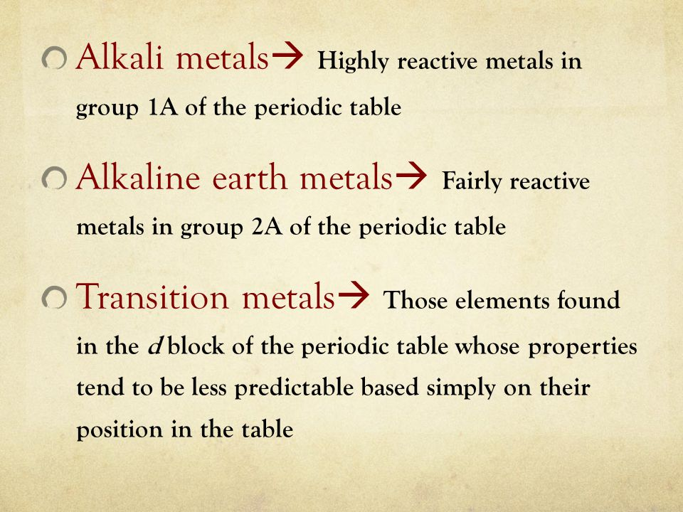 Alkali metals  Highly reactive metals in group 1A of the periodic table Alkaline earth metals  Fairly reactive metals in group 2A of the periodic ta