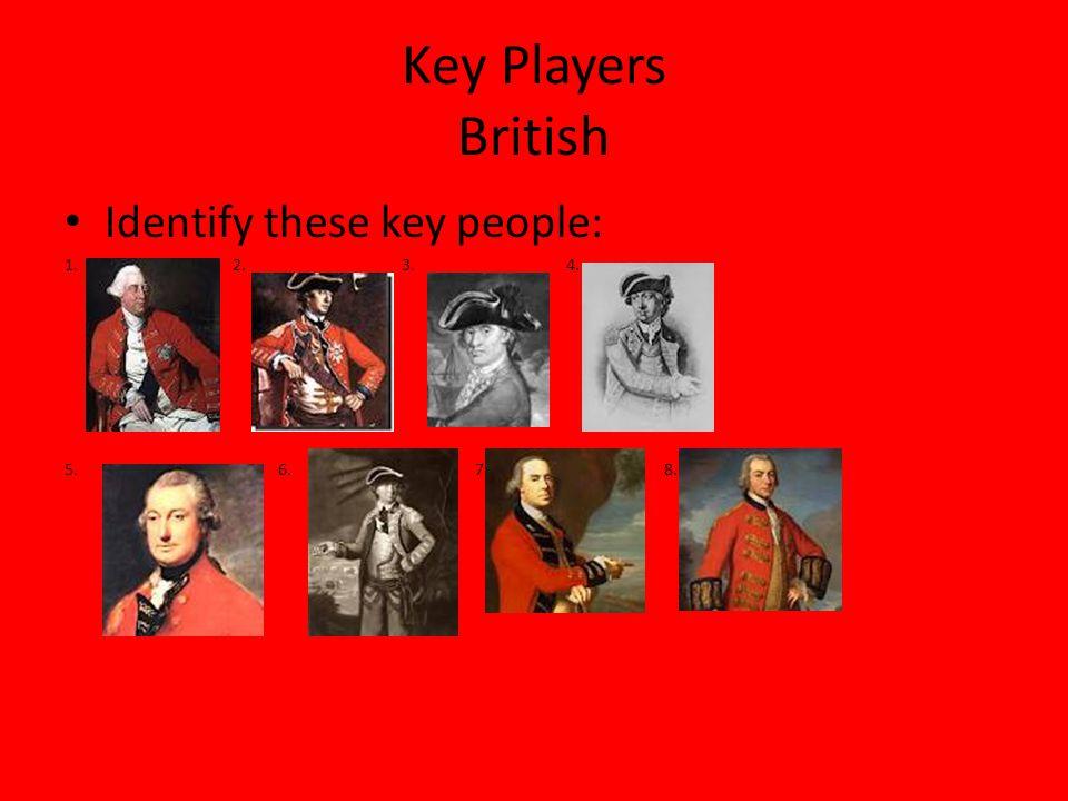 Answers 1.King George III 2.General Howe 3.Admiral Howe 4.General Lee 5.Lord Cornwallis 6.Benedict Arnold 7.General Gage 8.General Clinton