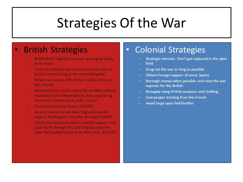 Strategies Of the War British Strategies – British didn't take the Colonial uprising seriously at its outset – Taxes for Colonists were much less then that of British citizens living in the United Kingdom – Britain sent about 10% of their military force to the colonies – Believed if they could isolate the problem (idea of Revolution and Independence) they could bring American Colonies back under control – First tried to isolate Boston (FAILED) – Second tried to isolate New England (couldn't capture Washington and after Saratoga FAILED) – Third tried to gain Southern Loyalists support and push North through N.C and Virginia while the other half pushed South from New York.
