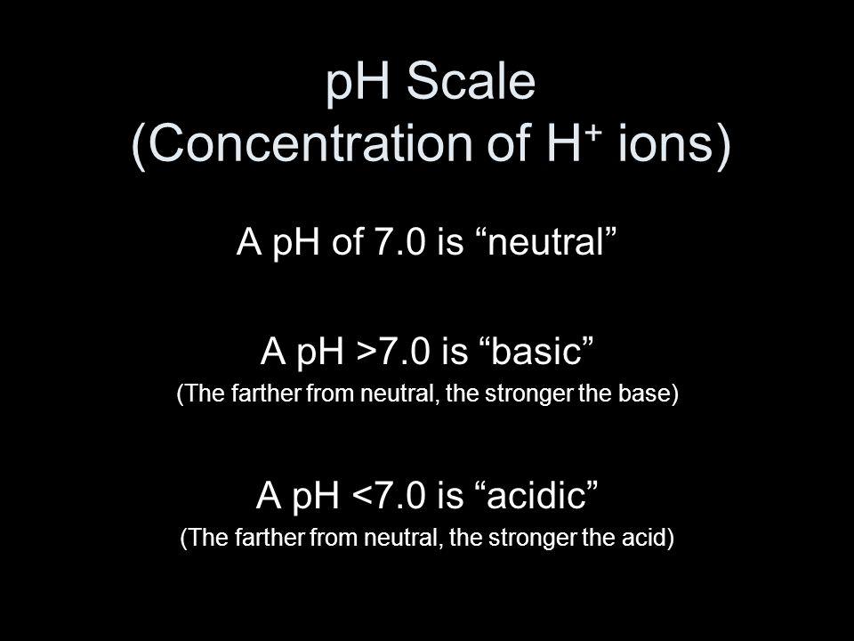 Math of pH -log(H + concentration in moles/Liter) Eg.