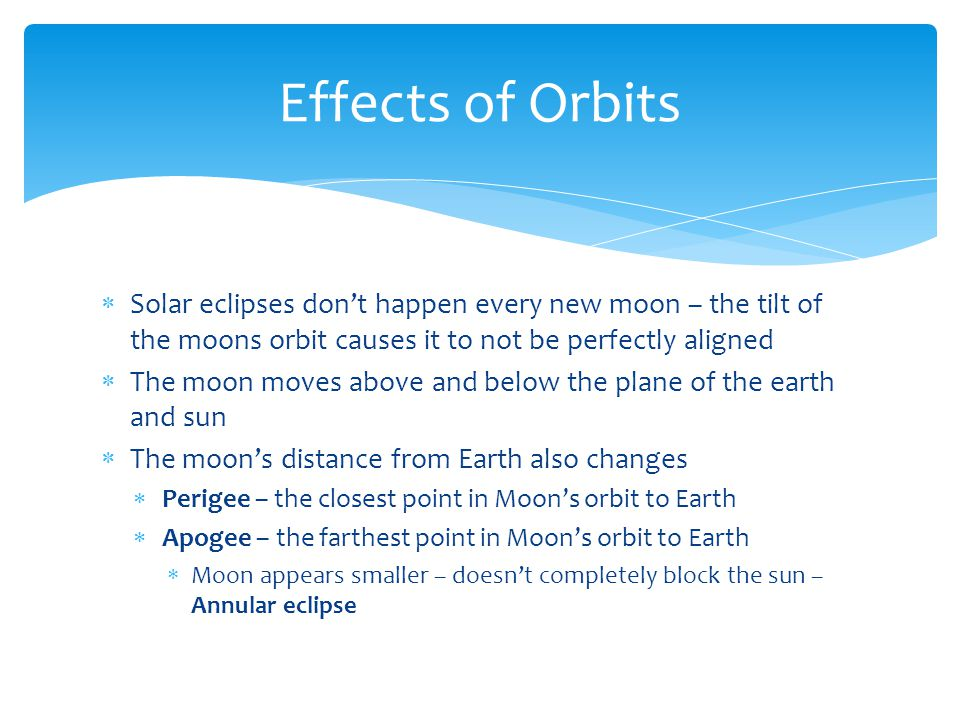  Solar eclipses don't happen every new moon – the tilt of the moons orbit causes it to not be perfectly aligned  The moon moves above and below the