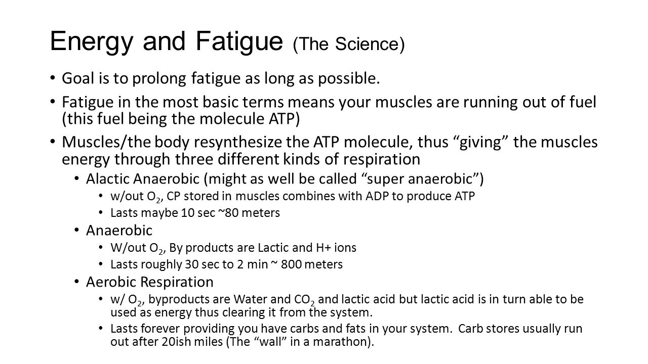 Energy and Fatigue (The Science) Goal is to prolong fatigue as long as possible.