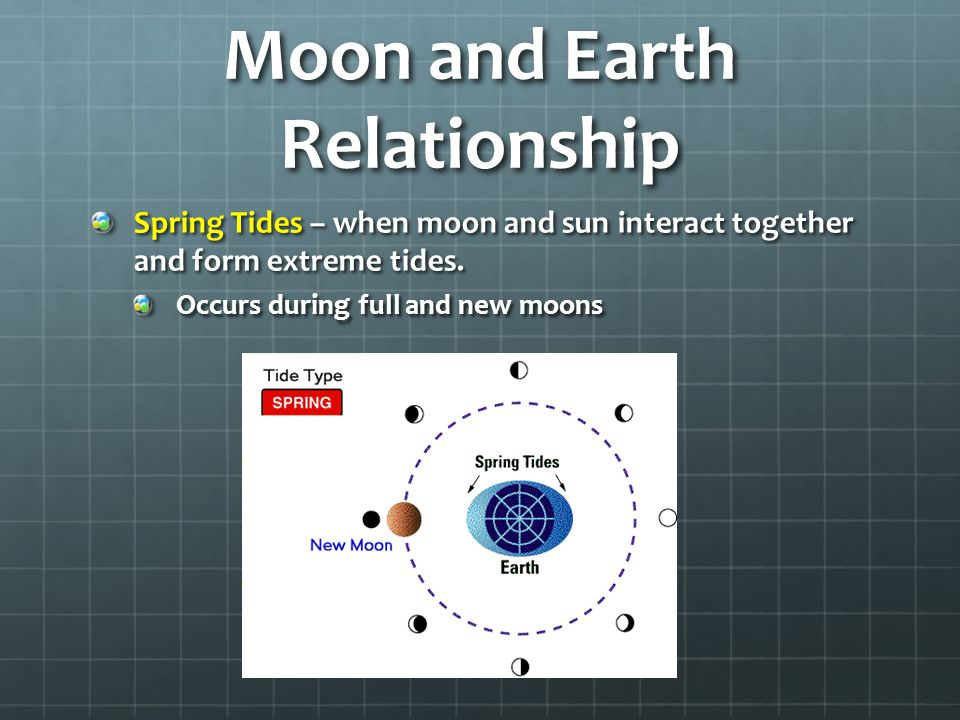 Moon and Earth Relationship Spring Tides – when moon and sun interact together and form extreme tides.