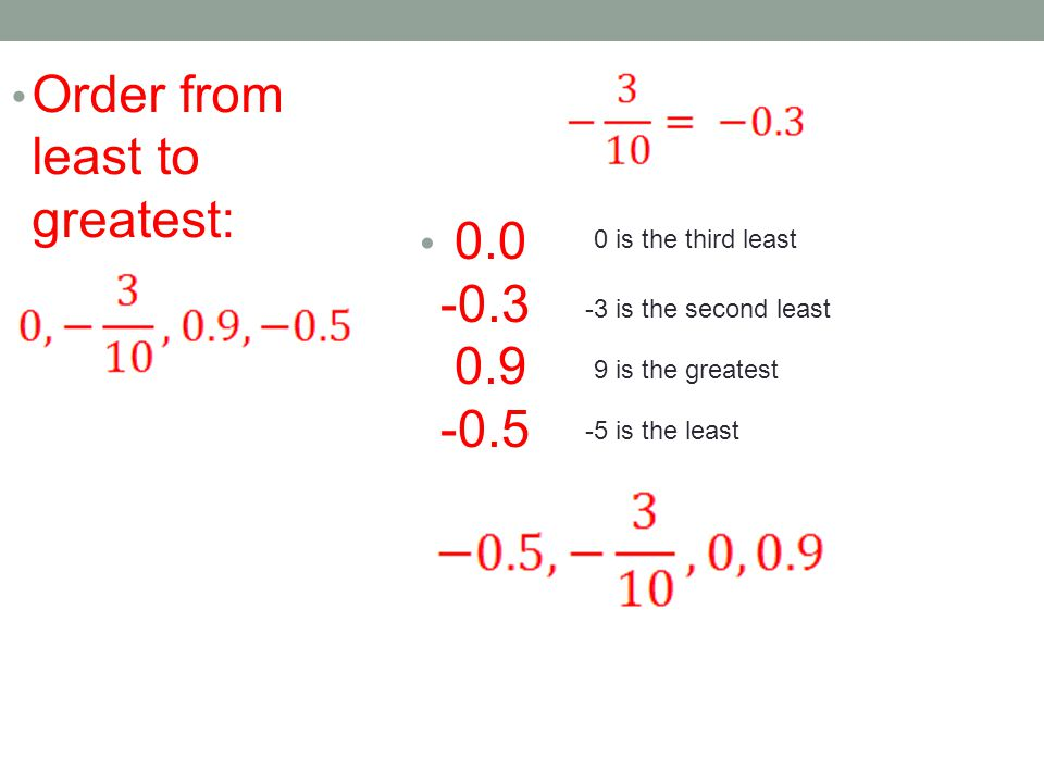 Order from least to greatest: 0.0 -0.3 0.9 -0.5 -5 is the least -3 is the second least 0 is the third least 9 is the greatest