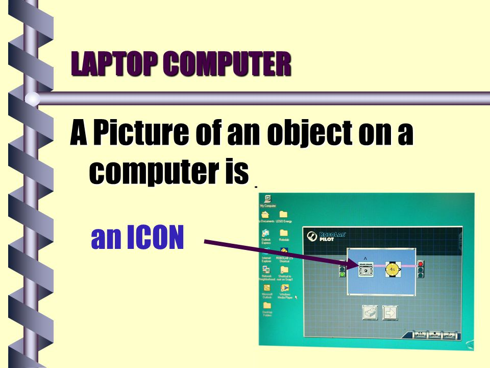 LAPTOP COMPUTER A Picture of an object on a computer is _____ an ICON