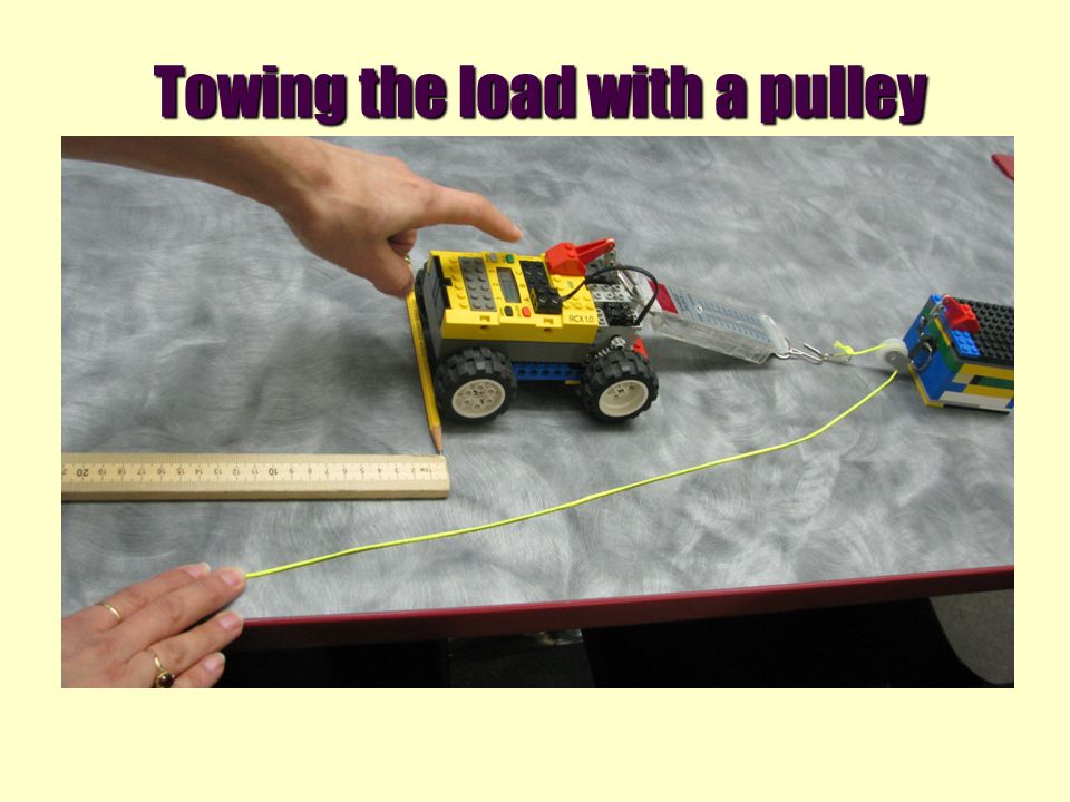 Towing the load with a pulley