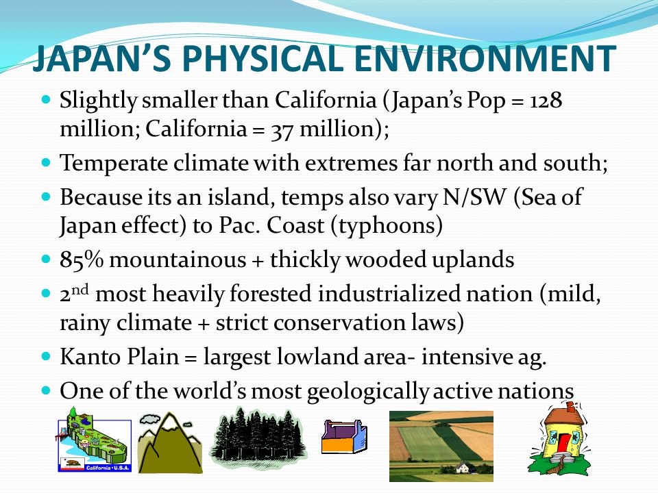 TAIWAN'S ENVIRONMENT Small Island (size of Md.) Shape is similar to a large, tilted block; central & east = very rugged; west is well watered plain; Mild winter climate; susceptible to typhoons; Extensive forests