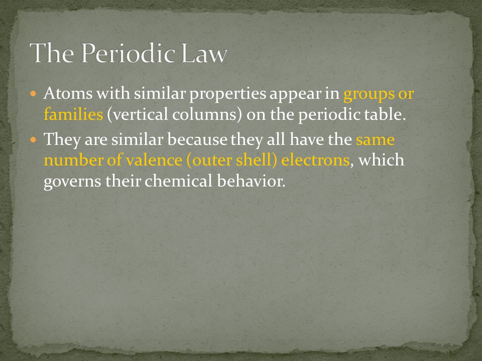 Atoms with similar properties appear in groups or families (vertical columns) on the periodic table. They are similar because they all have the same n