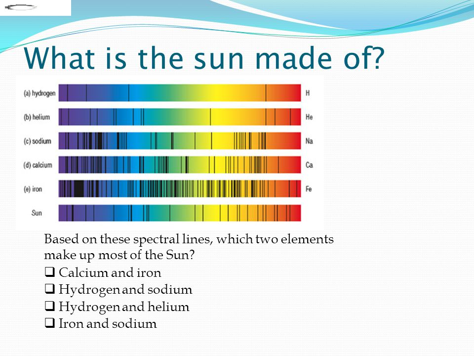 What is the sun made of? Based on these spectral lines, which two elements make up most of the Sun?  Calcium and iron  Hydrogen and sodium  Hydroge