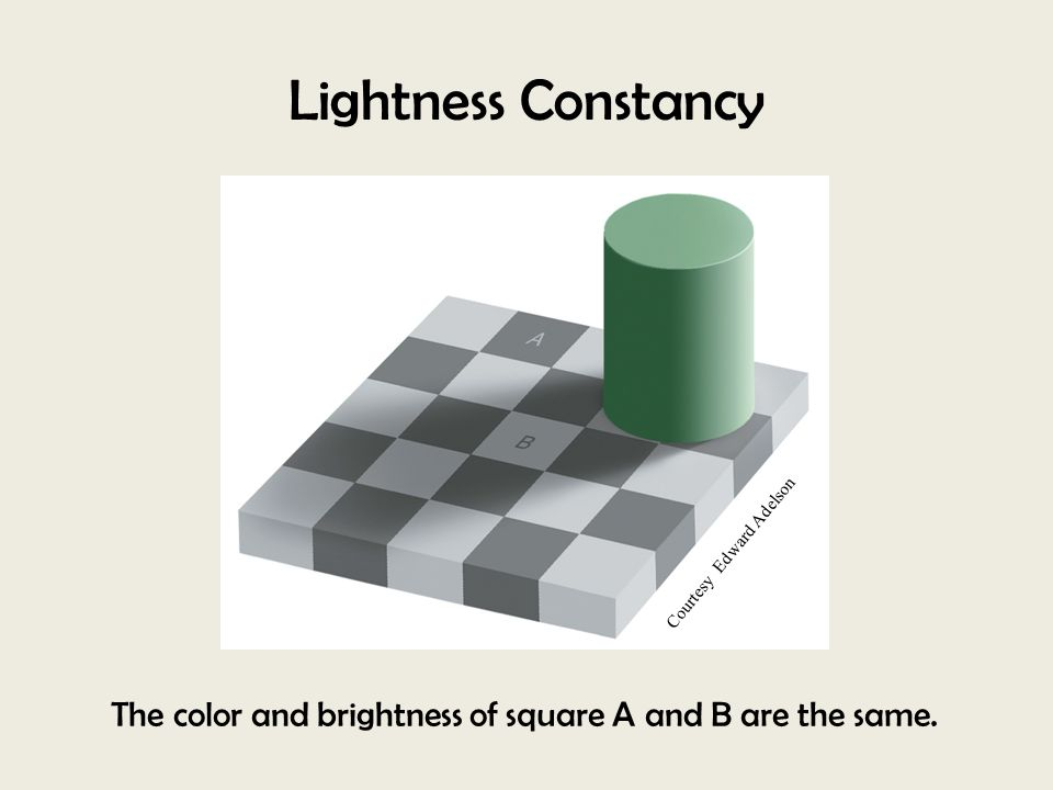 Lightness Constancy The color and brightness of square A and B are the same. Courtesy Edward Adelson