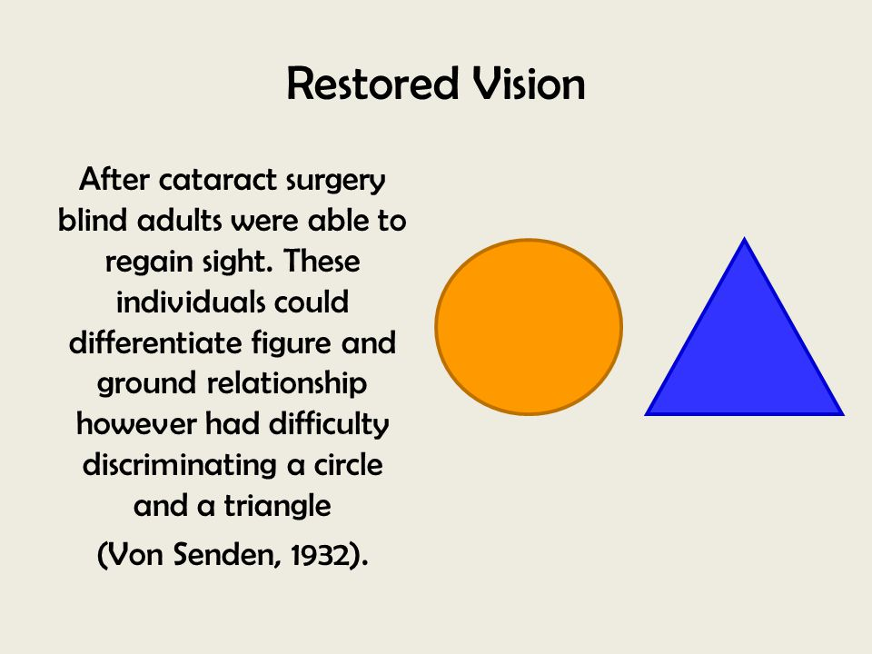 Restored Vision After cataract surgery blind adults were able to regain sight. These individuals could differentiate figure and ground relationship ho