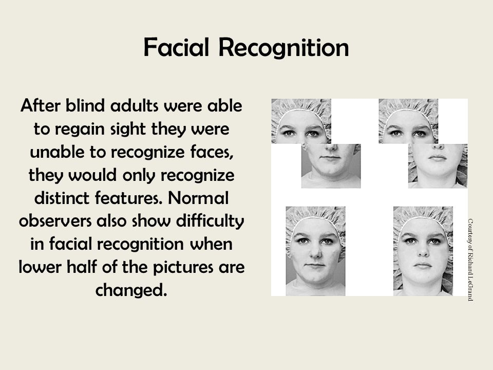 Facial Recognition After blind adults were able to regain sight they were unable to recognize faces, they would only recognize distinct features. Norm