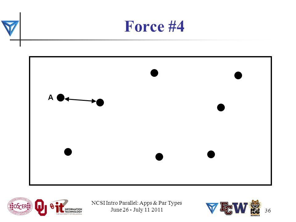 36 Force #4 A NCSI Intro Parallel: Apps & Par Types June 26 - July 11 2011