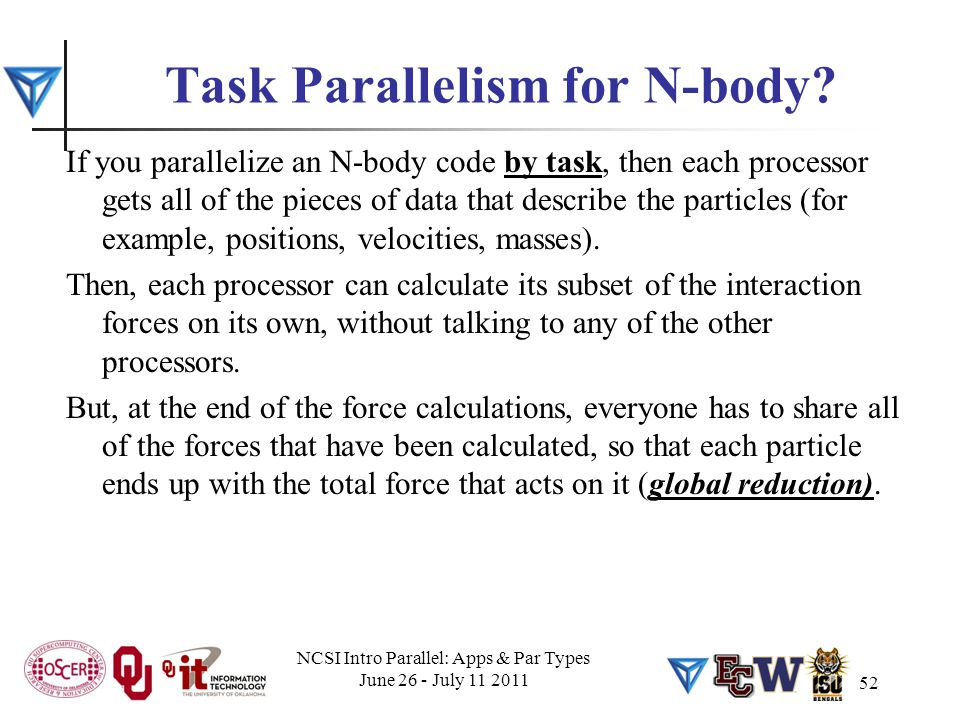 52 Task Parallelism for N-body.