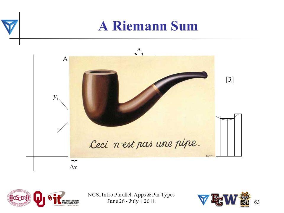 63 A Riemann Sum ΔxΔx { yiyi Area under the curve ≈ Ceci n'est pas un area under the curve: it's approximate! [3] NCSI Intro Parallel: Apps & Par Type