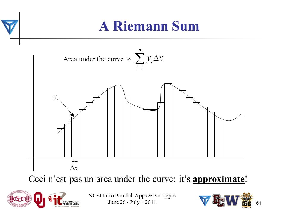 64 A Riemann Sum ΔxΔx { yiyi Area under the curve ≈ Ceci n'est pas un area under the curve: it's approximate! NCSI Intro Parallel: Apps & Par Types Ju