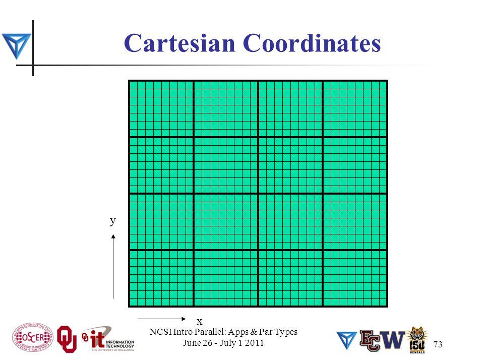 73 Cartesian Coordinates x y NCSI Intro Parallel: Apps & Par Types June 26 - July 1 2011