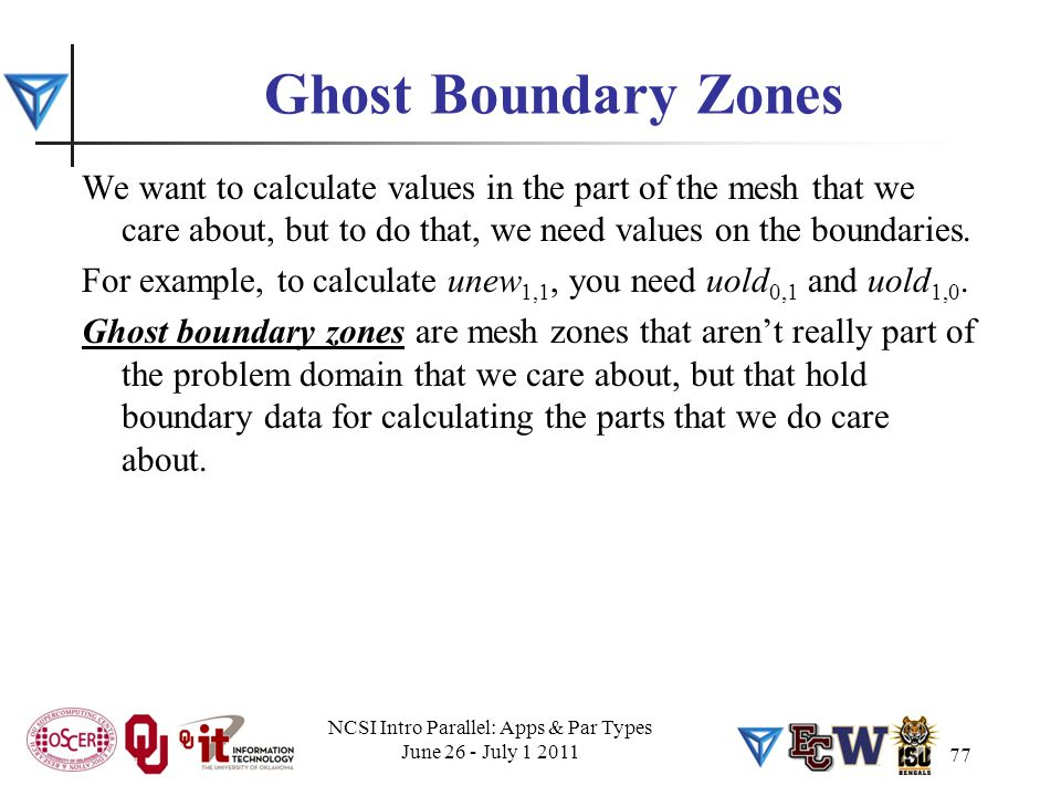 77 Ghost Boundary Zones We want to calculate values in the part of the mesh that we care about, but to do that, we need values on the boundaries. For