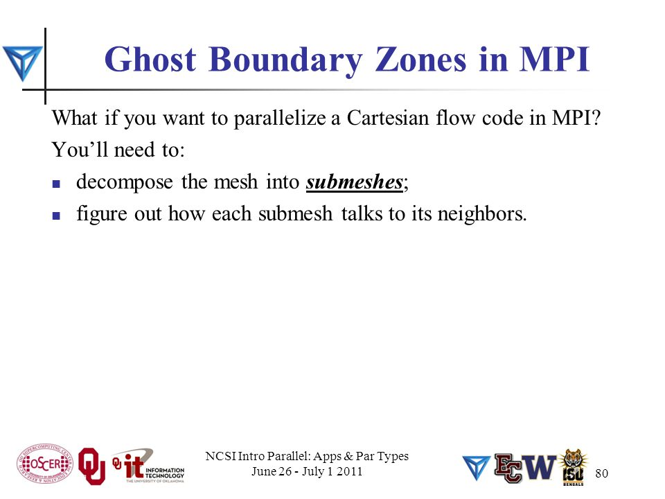 80 Ghost Boundary Zones in MPI What if you want to parallelize a Cartesian flow code in MPI? You'll need to: decompose the mesh into submeshes; figure