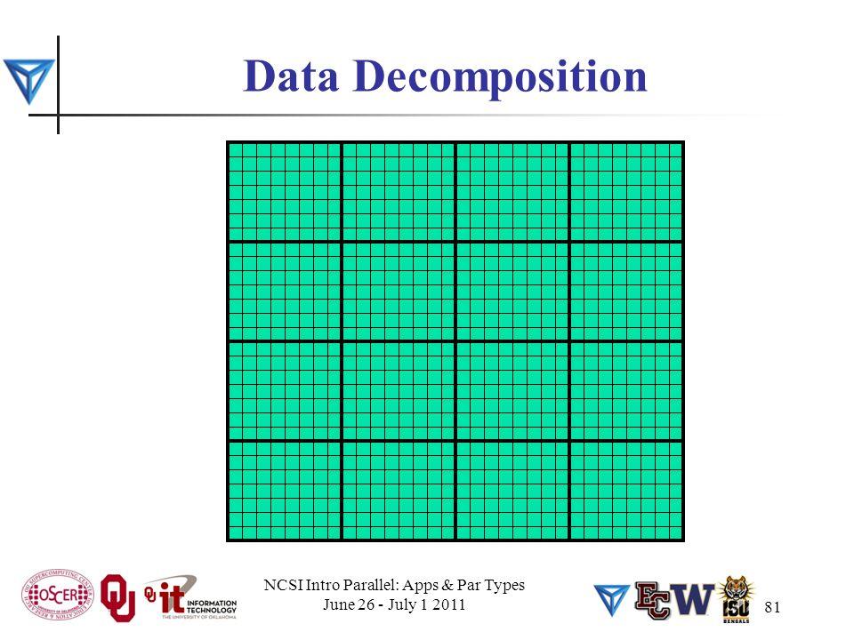 81 Data Decomposition NCSI Intro Parallel: Apps & Par Types June 26 - July 1 2011