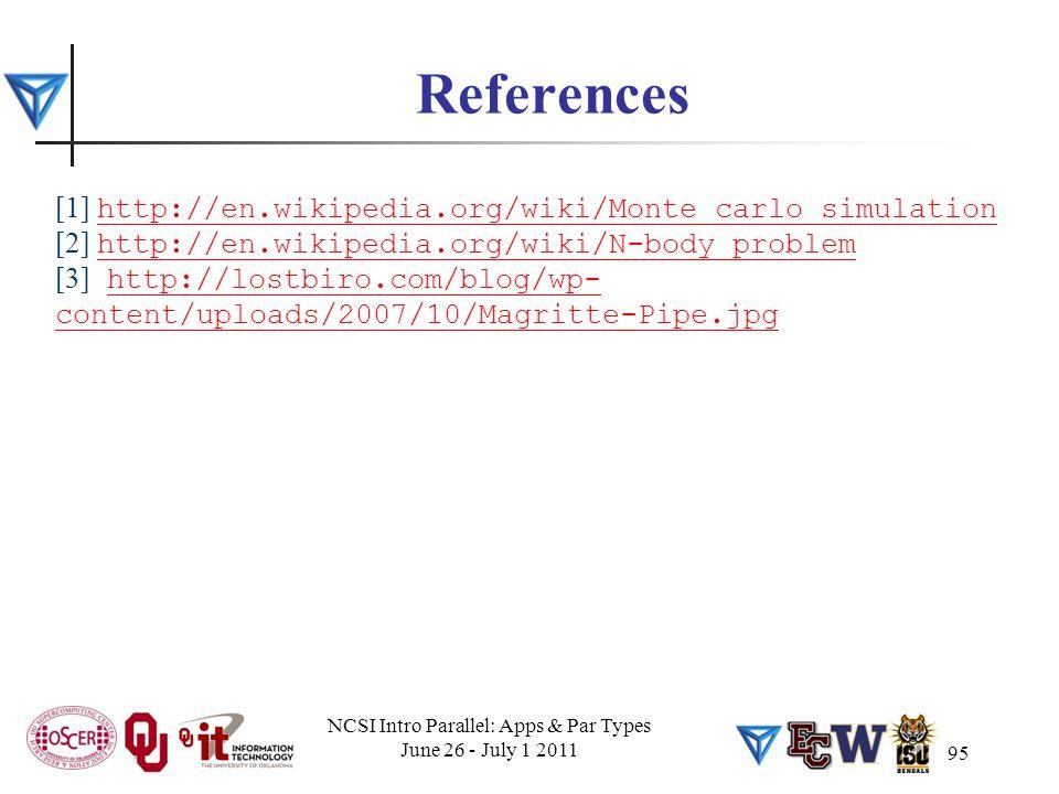 95 References [1] http://en.wikipedia.org/wiki/Monte_carlo_simulation http://en.wikipedia.org/wiki/Monte_carlo_simulation [2] http://en.wikipedia.org/