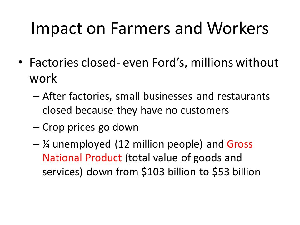 Impact on Farmers and Workers Factories closed- even Ford's, millions without work – After factories, small businesses and restaurants closed because