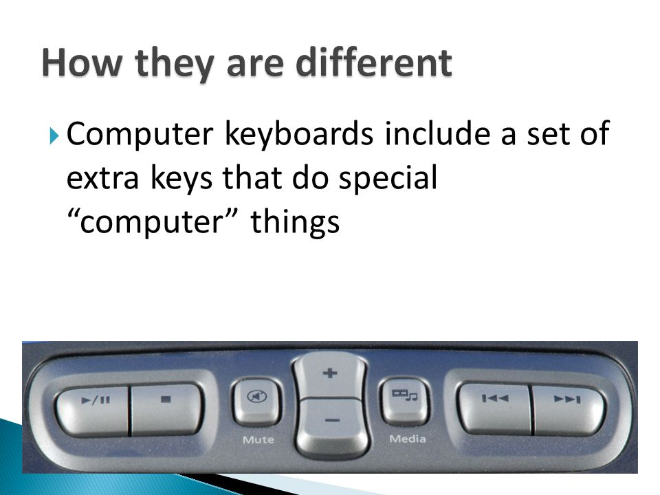 " Computer keyboards include a set of extra keys that do special ""computer"" things"