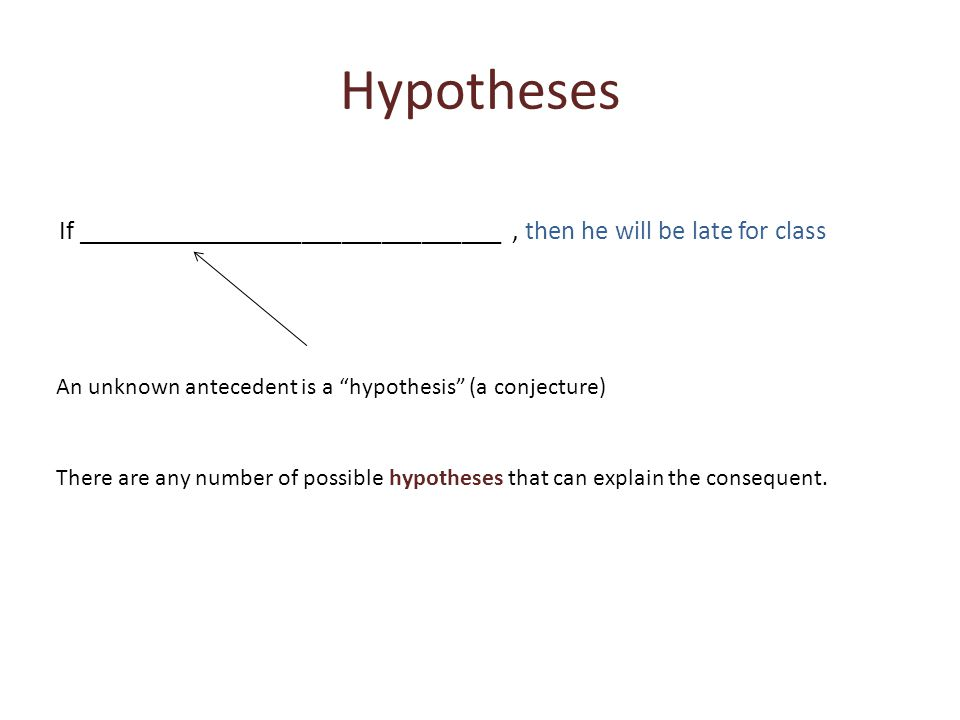Hypotheses If ________________________________, then he will be late for class There are any number of possible hypotheses that can explain the consequent.
