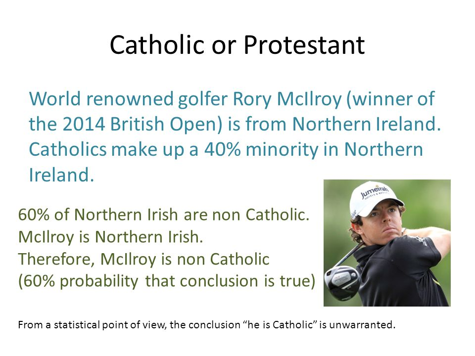 Catholic or Protestant World renowned golfer Rory McIlroy (winner of the 2014 British Open) is from Northern Ireland.