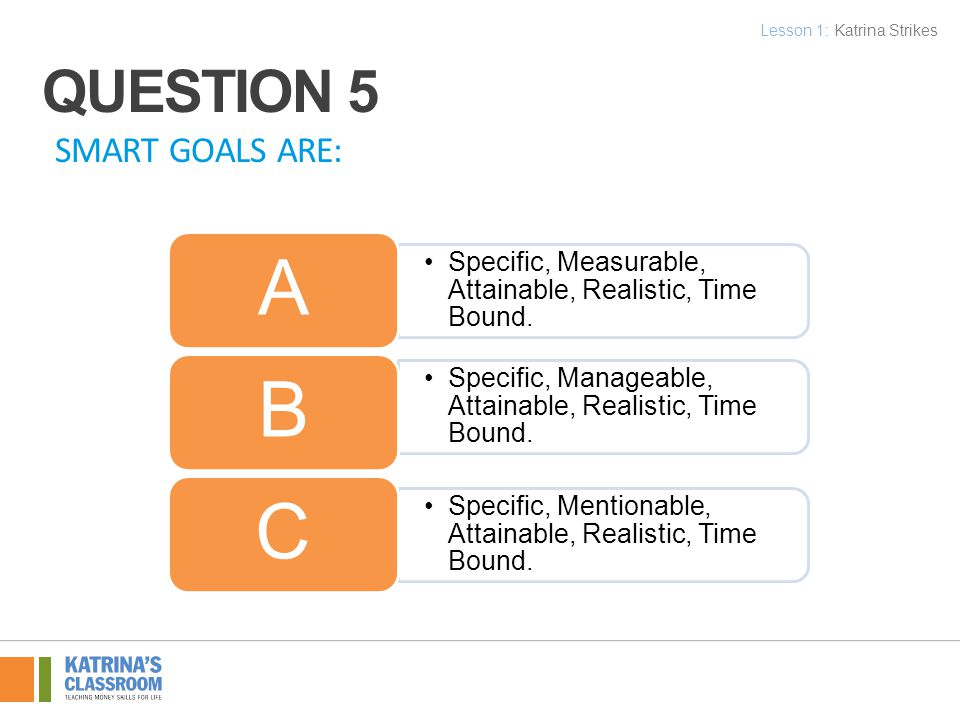 SMART GOALS ARE: Specific, Measurable, Attainable, Realistic, Time Bound.