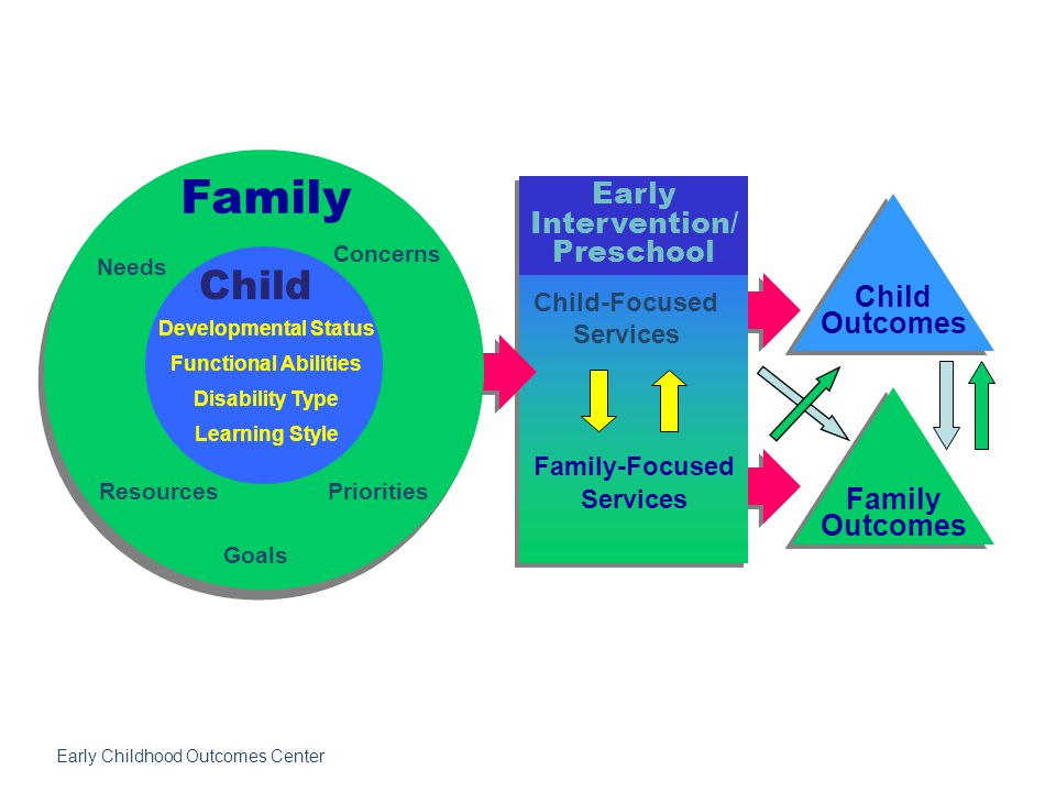 Early Intervention/ Preschool Child-Focused Services Family-Focused Services Child Outcomes Family Outcomes Family Needs Concerns ResourcesPriorities Goals Developmental Status Functional Abilities Disability Type Learning Style Child Early Childhood Outcomes Center