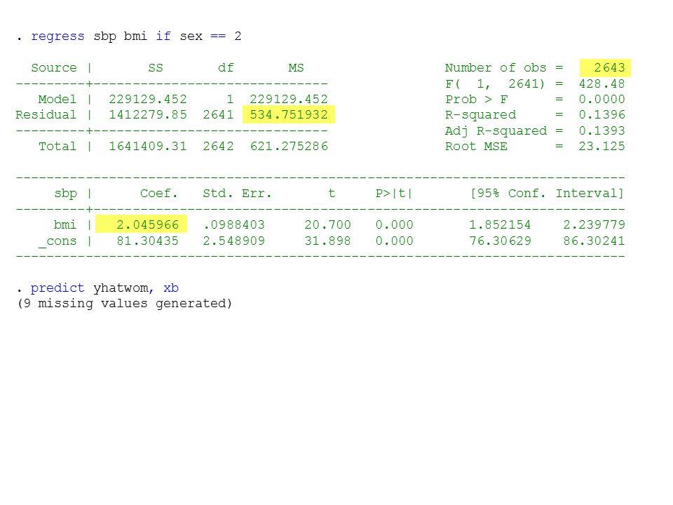 . regress sbp bmi if sex == 2 Source | SS df MS Number of obs = 2643 ---------+------------------------------ F( 1, 2641) = 428.48 Model | 229129.452