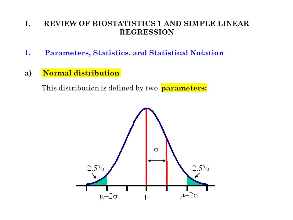 1. a) Normal distribution REVIEW OF BIOSTATISTICS 1 AND SIMPLE LINEAR REGRESSION I. Parameters, Statistics, and Statistical Notation This distribution