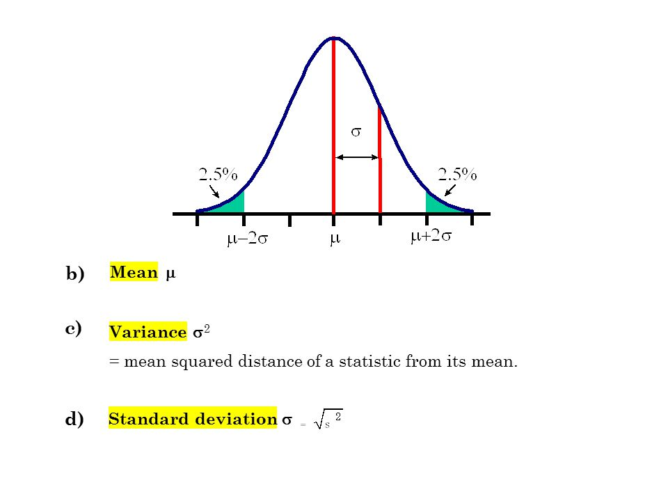 b) Mean  c) Variance  2 =mean squared distance of a statistic from its mean. Standard deviation  d)