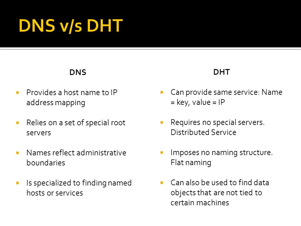 DNS  Provides a host name to IP address mapping  Relies on a set of special root servers  Names reflect administrative boundaries  Is specialized to finding named hosts or services DHT  Can provide same service: Name = key, value = IP  Requires no special servers.