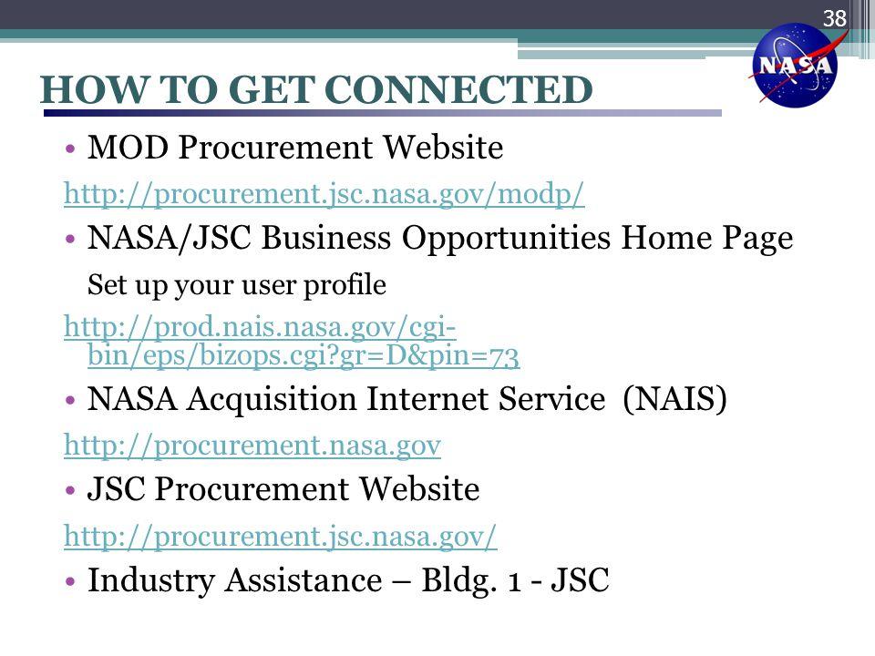 HOW TO GET CONNECTED MOD Procurement Website http://procurement.jsc.nasa.gov/modp/ NASA/JSC Business Opportunities Home Page Set up your user profile