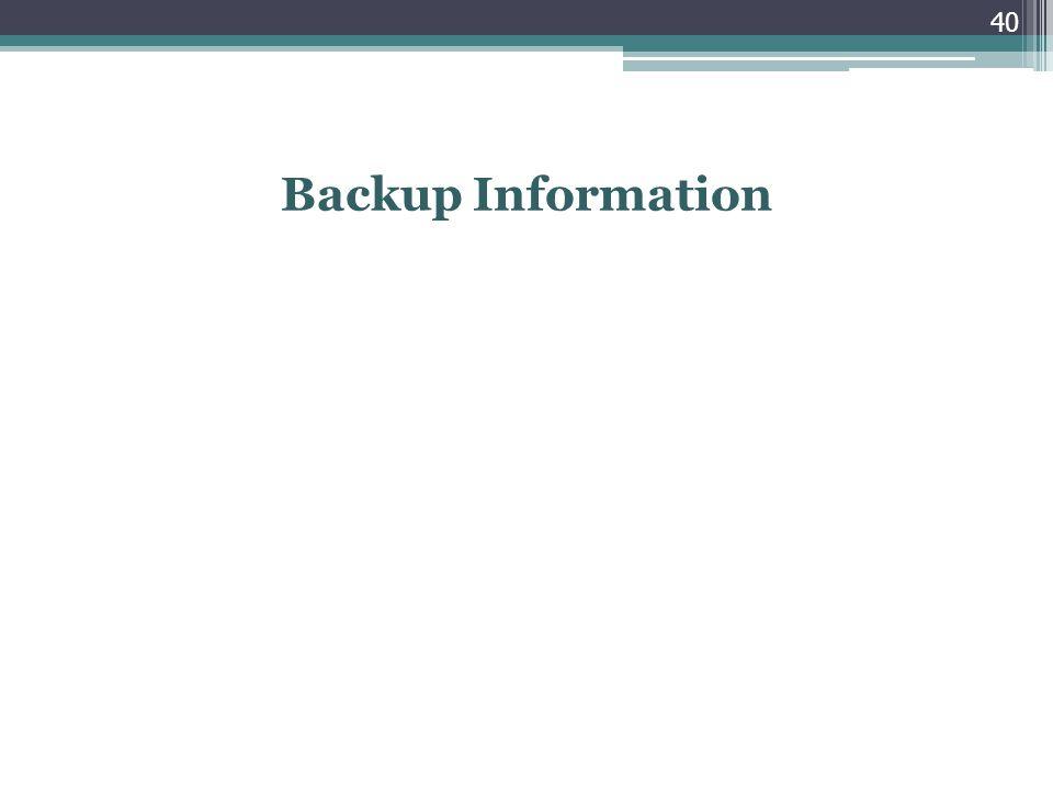 Backup Information 40