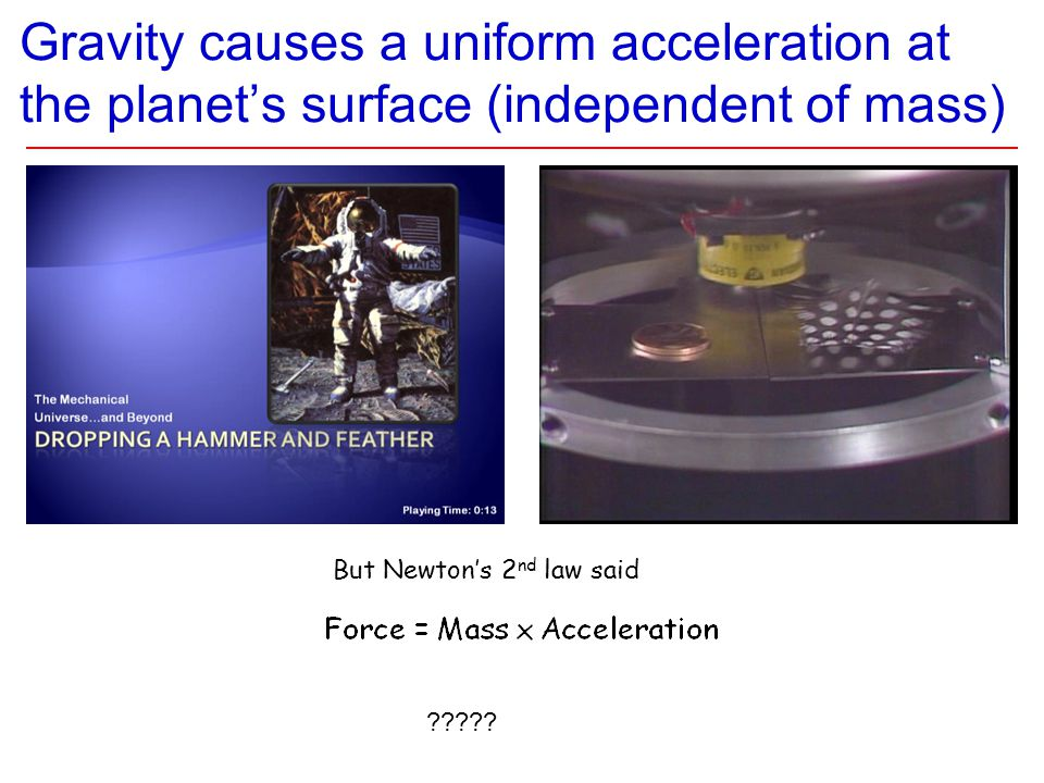 Gravity causes a uniform acceleration at the planet's surface (independent of mass) But Newton's 2 nd law said