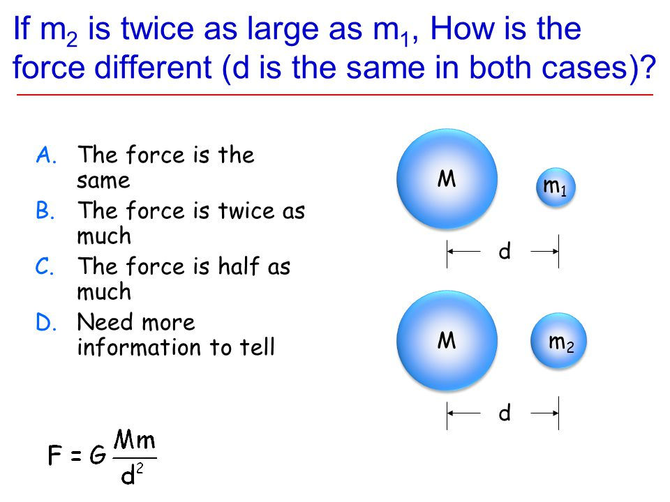 If m 2 is twice as large as m 1, How is the force different (d is the same in both cases).
