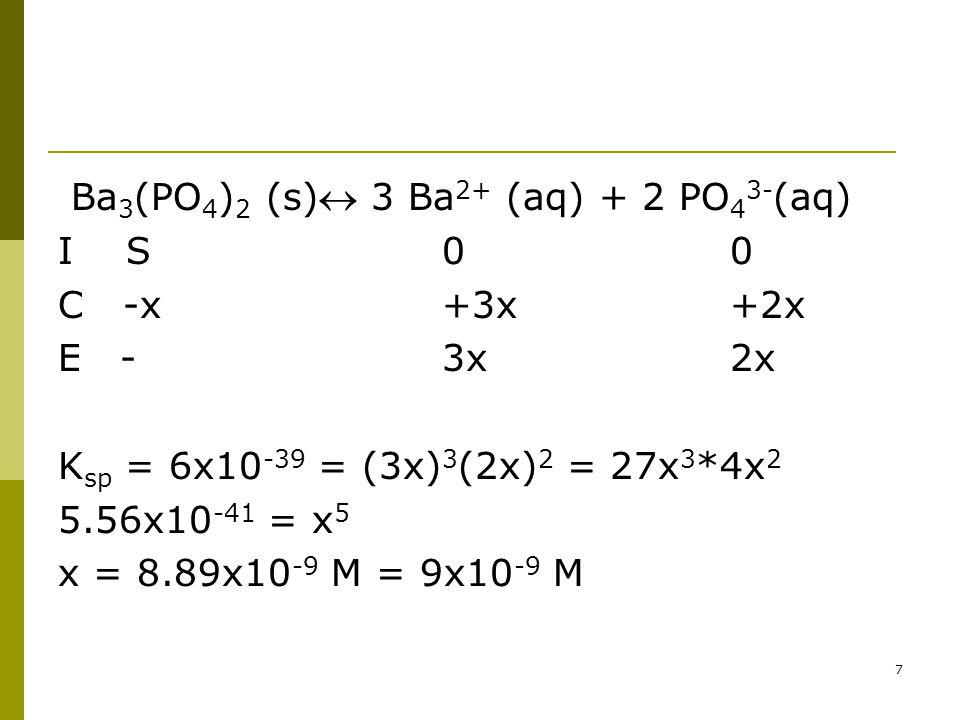 Ba 3 (PO 4 ) 2 (s) 3 Ba 2+ (aq) + 2 PO 4 3- (aq) I S 00 C -x+3x+2x E -3x2x K sp = 6x10 -39 = (3x) 3 (2x) 2 = 27x 3 *4x 2 5.56x10 -41 = x 5 x = 8.89x10 -9 M = 9x10 -9 M 7