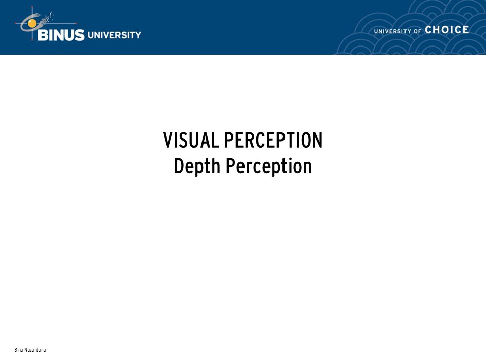 Bina Nusantara VISUAL PERCEPTION Depth Perception