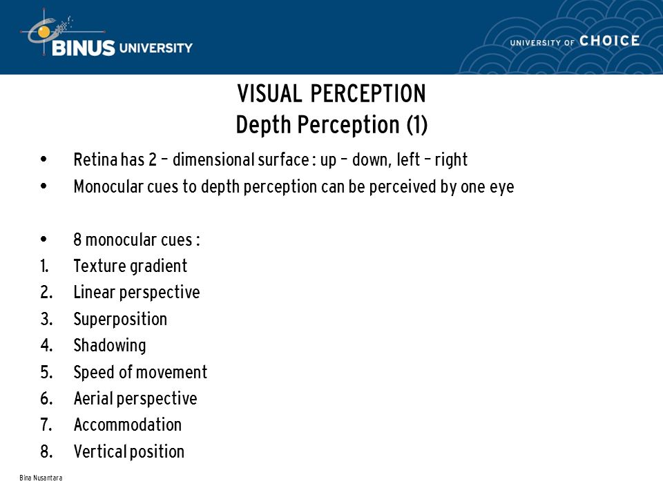 Bina Nusantara VISUAL PERCEPTION Depth Perception (1) Retina has 2 – dimensional surface : up – down, left – right Monocular cues to depth perception can be perceived by one eye 8 monocular cues : 1.