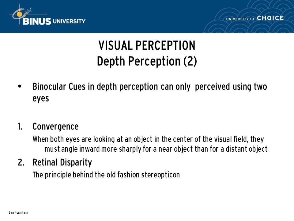 Bina Nusantara Binocular Cues in depth perception can only perceived using two eyes 1.