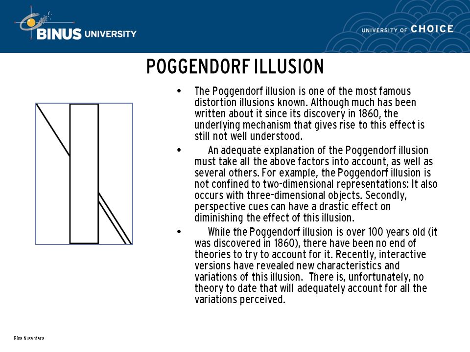Bina Nusantara POGGENDORF ILLUSION The Poggendorf illusion is one of the most famous distortion illusions known.