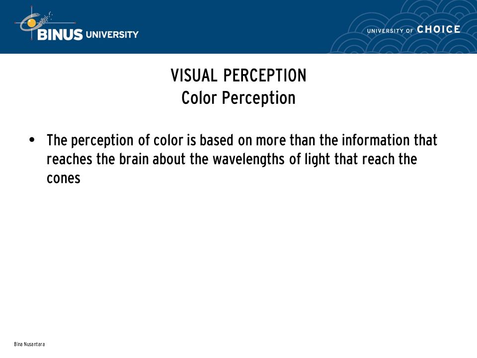 Bina Nusantara VISUAL PERCEPTION Color Perception The perception of color is based on more than the information that reaches the brain about the wavelengths of light that reach the cones