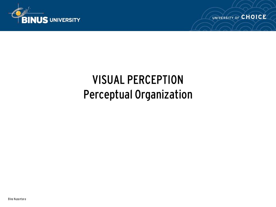 Bina Nusantara VISUAL PERCEPTION Perceptual Organization