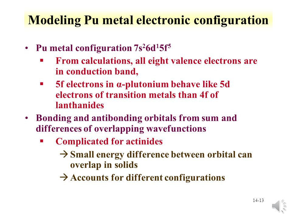 14-12 Metallic Pu Other elements that stabilize  phase §Al, Ga, Ce, Am, Sc, In, and Tl stabilize phase at room temperature §Si, Zn, Zr, and Hf retain